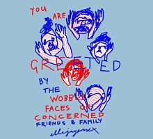 """'Greetings from the Wobbly Faces of Concern"""" Womens Fitted T-Shirt"""