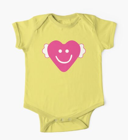 Cute Candy Heart - Grey and Pink One Piece - Short Sleeve
