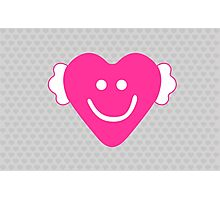 Cute Candy Heart - Grey and Pink Photographic Print