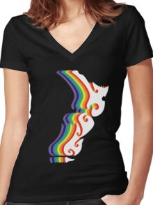 Rainbow NZ (for dark colours) Women's Fitted V-Neck T-Shirt