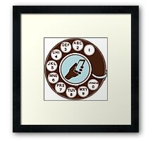 Dial numbers with analoque mobile phone Framed Print