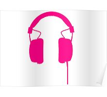 Pink Headphones Poster