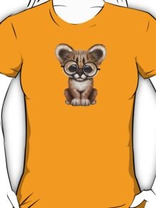 Cute Cougar Cub Wearing Reading Glasses on Yellow T-Shirt