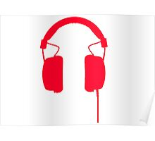 Red Headphones Poster