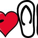 I heart I love flip flops sandals by SofiaYoushi