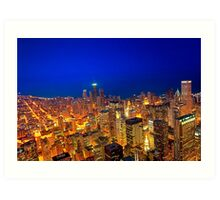 Golden Valleys - Chicago Skyline at Dusk Art Print