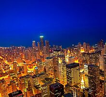 Golden Valleys - Chicago Skyline at Dusk by Mark Tisdale