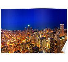 Golden Valleys - Chicago Skyline at Dusk Poster