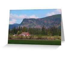 Red Barn and Mountain Range Greeting Card