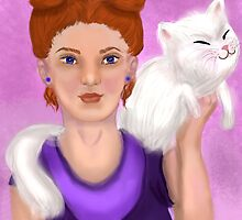 She with her cat by Noiramiw