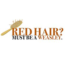 Red hair? Must be a Weasley - Harry Potter Photographic Print