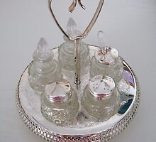Silver and Crystal Cruet Set by kathrynsgallery
