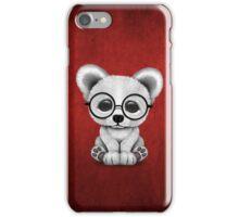 Cute Polar Bear Cub with Eye Glasses on Red iPhone Case/Skin