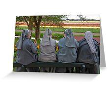 Nuns at Keukenhof Gardens Greeting Card