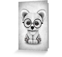 Cute Polar Bear Cub with Eye Glasses on White Greeting Card
