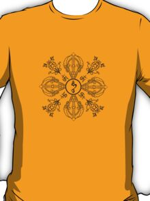Vajra with Hum, Om, and Lotuses - (Monochrome) T-Shirt