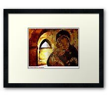 Madonna and Child in St. Thomas Hospital, Canterbury, Kent. Framed Print