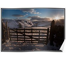 Views over Conistone in the snow Poster