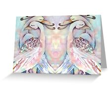 Pastel Love Birds Duo Watercolour Painting Greeting Card