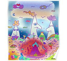 """3 mountains"" - Children Colorful Fantasy Stories Poster"