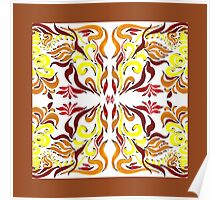 Floral Flow Pattern With Brown Edge Poster