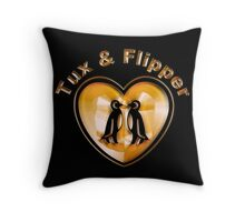 Tux And Flipper Throw Pillow