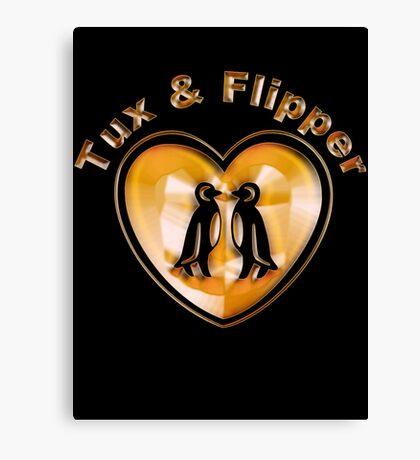 Tux And Flipper Canvas Print