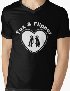 Tux And Flipper Mens V-Neck T-Shirt
