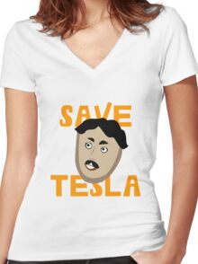 Save Tesla Women's Fitted V-Neck T-Shirt