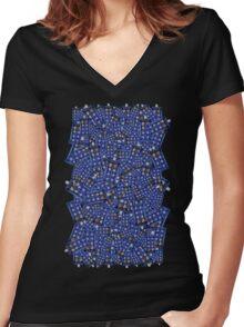 British Blue Phone box Pattern Women's Fitted V-Neck T-Shirt