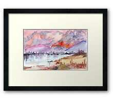 Veld Fire over the mountains Framed Print