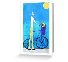 Man and Bicycle Greeting Card