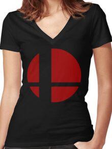 Super Smash Bros Logo Women's Fitted V-Neck T-Shirt