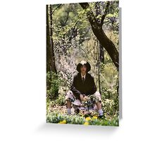 Self Portrait by the Woods(resized) Greeting Card