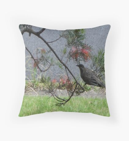 Honeyeater Visit Throw Pillow