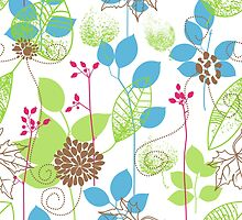 Blue Green Soothing Leaf Pattern  by Anaa