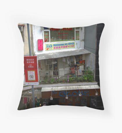 Typical Hong Kong street scene. Throw Pillow