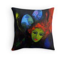Red hair, blue masks Throw Pillow