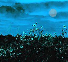 SUNFLOWERS IN MOONLIGHT by Paul Quixote Alleyne