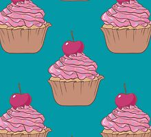cupcake seamless vector pattern by julkapulka