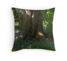 Woodland scene with bluebells Throw Pillow