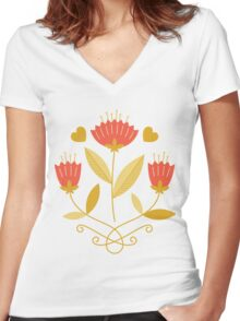 flowers everywhere/3 Women's Fitted V-Neck T-Shirt
