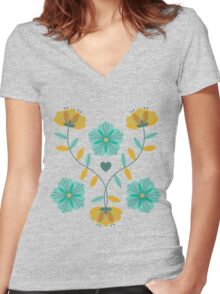flowers everywhere/2 Women's Fitted V-Neck T-Shirt