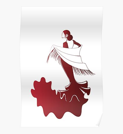 flamenco dancer in dramatic expressive pose Poster