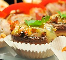 Yellow cheese,ham and vegetables stuffed mushrooms by onut