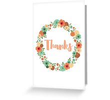 Vintage floral thanks greeting card Greeting Card