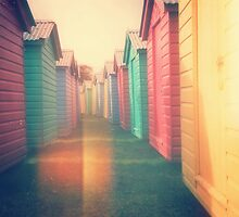 Beach Huts 02D - Retro by Pete Edmunds