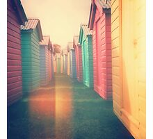Beach Huts 02D - Retro Photographic Print