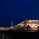 Brighton (Palace) Pier at night. by Maureen Brittain