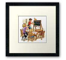 dick and jane play school Framed Print